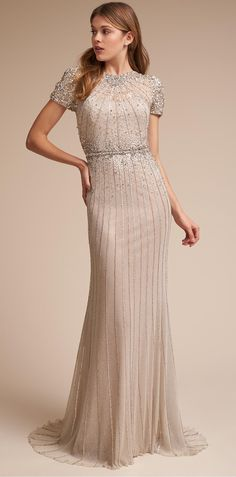 Embellished Wedding Dress || Column Wedding Dress