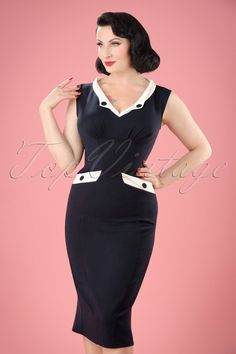1950s Signe Lee Pencil Dress in Navy and White £87.15 AT vintagedancer.com  Pin 08eacf22a76