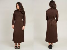 1990s Wing Fat Brown Ribbed Long Sleeve Club Collar Maxi Dress  M by SoftServeVintage