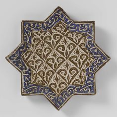 Navy And Brown, Illuminated Manuscript, Tile Patterns, Islamic Art, Decorative Boxes, Antique Tiles, Ornaments, Tableware, Pottery