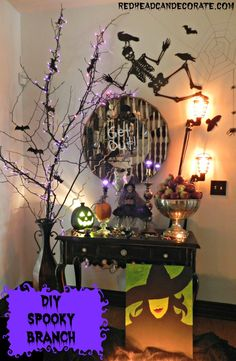 Halloween Foyer & DIY Spooky Branch - Redhead Can Decorate Halloween Birthday, Holidays Halloween, Spooky Halloween, Happy Halloween, Halloween 2020, Creepy Halloween Decorations, Halloween Lanterns, Holiday Crafts, Holiday Fun