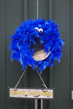 Cookie Monster wreath for halloween