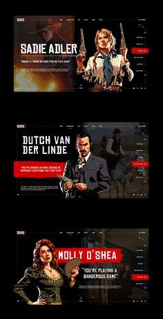 Red Dead Redemption 2 on Behance Game Ui Design, Flyer Design, Branding Design, Web Layout, Layout Design, Blog Layout, Website Design Inspiration, Graphic Design Inspiration, Interface Design