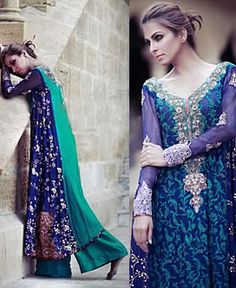 D4512 Teal Blue Heloise Party Evening Outfits 2013 by Tena Durrani Houston TX, Embroidered Wedding Suits by Tena Durrani TX