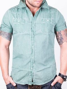 Camasa barbati Nature cu maneca scurta verde Button Down Shirt, Men Casual, Interior Design, Mens Tops, Shirts, Fashion, Green, Nest Design, Moda