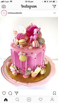 Birthday Cakes For Girls - Novelty Birthday Cakes Pinkie Pie Party, Pinkie Pie Cake, Little Girl Birthday Cakes, Baby Birthday Cakes, Novelty Birthday Cakes, 4th Birthday, My Little Pony Party, Bolo My Little Pony, Imagenes My Little Pony