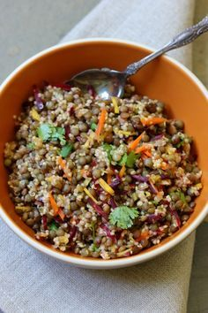 Quinoa lentil salad with a ginger curry vinaigrette--just tried it tonight, and it is delicious!