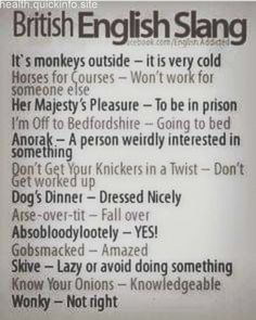 """British English Slang - 'Dog's dinner' means 'a mess', something that's gone wrong, rather than 'dressed nicely'. There's also a common extension to the 'going to bed' phrase, where you say: """"I'm climbing the wooden hill to Bedfordshire. English Idioms, English Vocabulary Words, Learn English Words, English Lessons, English Grammar, Teaching English, English Language, Slang English, Writing Words"""