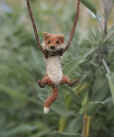 Tiny Felted Fox Necklace