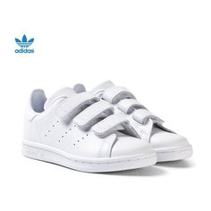 Stan Smith Velcro Trainers White ($54) ❤ liked on Polyvore featuring shoes, sneakers, leather shoes, white velcro shoes, white sneakers, white tennis sneakers and white leather sneakers