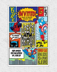 Super Hero Theme Invitation Digital File PRINTABLE by MetroEvents, $6.98