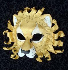 CUSTOM Gold Sun Lion Mask... made to order handmade leather mask