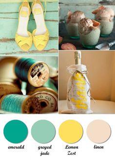 Colour board. Emerald, greyed jade, lemon zest, linen