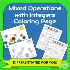 Mixed Operations with Integers Coloring Page: Integer practice made fun!  This is a 2-pack, differentiated coloring activity for middle school students to practice adding, subtracting, multiplying, and dividing integers.  Both levels include negatives and word problems.To use this activity each student will need a coloring page and a problem page.
