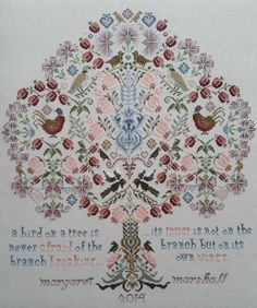 hofstede closed tree life sampler cross stitch - Google Search