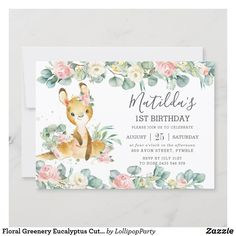 Floral Greenery Eucalyptus Cute Kangaroo Birthday Invitation