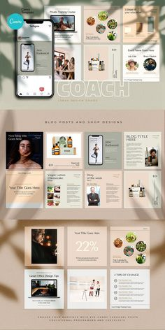 COACH - Canva Instagram Template  Instagram Canva Template for coaches, teachers, food bloggers, podcasters, personal trainers, nutrition experts and entrepreneurs. Featuring eye-candy minimalistic template designs to get your audience and sell your digital offers and courses. Coach Instagram, Instagram Feed, Being Used Quotes, Branding Template, Cosmetic Shop, Instagram Design, Social Media Design, Colorful Backgrounds, Templates