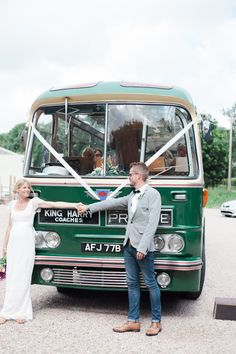 Vintage Bus Transport Romantic Humanist Forest Cornwall Pub Wedding http://weddings.workhousecollective.com/