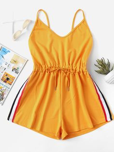 To find out about the Striped Tape Side Cami Romper at SHEIN, part of our latest Jumpsuits ready to shop online today! Cute Lazy Outfits, Teenage Outfits, Teen Fashion Outfits, Sporty Outfits, Cute Fashion, Outfits For Teens, Trendy Outfits, Cool Outfits, Fashion Clothes