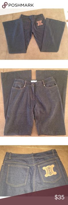 """Celine S wool jeans wide bell bottom logo pocket In very good condition looks like they were never worn. Zip front and button, belt loops and 4 pockets, logo pocket at back, bell bottom pants. Waist: 28"""", Inseam 33-1/2, Rise: 9"""", Hip: 37"""" Celine Pants Boot Cut & Flare"""