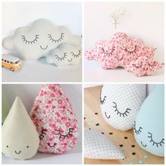 easy clouds and raindrops pillows