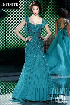 Heavy Beading Mermaid cap sleeve Sweetheart crystal Luxury pearls beaded sequins zuhair murad evening dresses 2014 US $448.00
