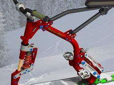 Innovative Omo ski-bike combines the features of a snowboard and a bike. 3rd Wheel, Mtb Bike, Sled, Snowboard, Skiing, Motorcycle, Skates, Bicycles, Fun Stuff