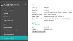 Page Informations sur le PC dans Paramètres du PC
