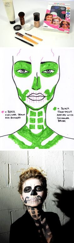 Print this skeleton makeup diagram to get an easy, scary-chic look for Halloween parties or last minute DIY costumes!                                                                                                                                                                                 More