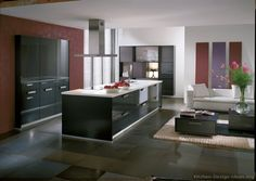 #Kitchen of the Day: Modern gray cabinets by Alno with a touch of color on the walls (Alno.com, Kitchen-Design-Ideas.org)