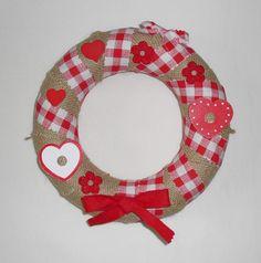 Gingham cloth wreath, burlap wall decor, Christmas original gift idea,burlap and gingham wreath,made in Italy, hearted wreath,kitchen wreath