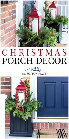 Ideas for easy Christmas porch decor. Winter planter idea using red lanterns. Festive Christmas wreath along with a cozy Christmas sitting area.  #Christmas #Christmasporch #ChristmasDecorations