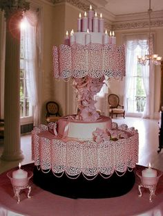 Unbelievably  Amazing!  ~ this wedding cake is fondant covered, but all the lacework is hand piped. ~ entirely edible