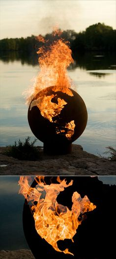"""Global Domination, Step 1B: Order Flaming Globe from """"Fire Pit Rick""""  Posted by hipstomp / Rain Noe  