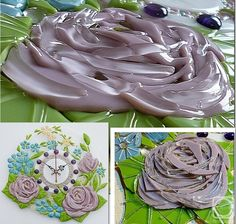 "Wall clock ""Provence"" glass fusing (fragment). I love this idea for making roses."