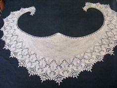 Tussah Wild Silk Beaded Crescent shaped Lace Shawl