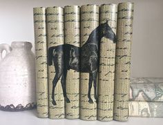 Custom Decorative Books with Horse Image, Book Decor for Horse Lovers, Custom Book Covers with Horse Image, Horse Lover Gift, Wedding Prop