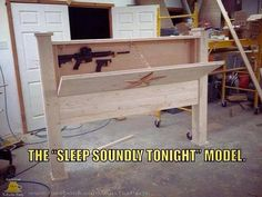 Custom Furniture with Hidden Compartments - Zint Designs - Custom Texas Furniture TX - Zombie Apocalyspe furniture. Bed with custom head board. Ways to hide your guns Hidden Gun Cabinets, Hidden Cabinet, Hidden Gun Storage, Secret Storage, Safe Storage, Hidden Gun Safe, Hidden Shelf, Hidden Doors, Storage Room