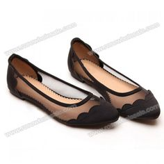 Wholesale Sexy Casual Women's Flat Shoes With Splicing and Gauze Design (BLACK,39), Flats - Rosewholesale.com