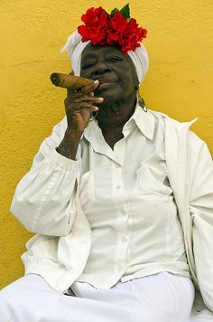 Old woman Santera smoking cigar Havana Cuba by Renato Granieri, via Flickr