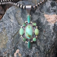 Gorgeous Nine Stone Green Royston Turquoise Pendant | Buy Native American Jewelry at Sunface Traders