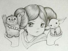 Princess Leia with Chewee &  Yoda by Camilla d'Errico