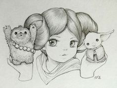 Princess Leia with Chewee &  Yoda by Camilla d'Errico