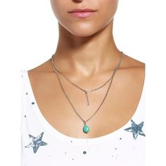 Chic Waterdrop-Shaped Turquoise Embellished Double-Layer Necklace For Women #women, #men, #hats, #watches, #belts, #fashion, #style