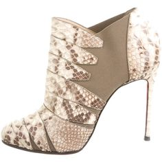 Pre-owned Christian Louboutin Python Booties ($625) ❤ liked on Polyvore featuring shoes, boots, ankle booties, neutrals, elastic boots, snake skin boots, snakeskin booties, snakeskin boots and multi color boots