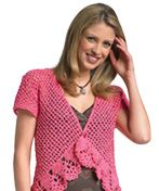 LM0218 Crochet One Button Bolero  Finished Bust: 32½ (34½, 36½)""
