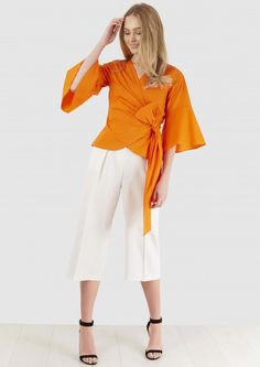 Orange Wrap Over Tie Waist Blouse - Tops - Clothing