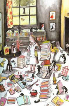 Kitty crowther - le grand désordre art&illustration книги, и Kitty Crowther, Ligne Claire, Reading Art, Book Corners, Children's Book Illustration, I Love Books, Caricatures, Book Worms, Childrens Books