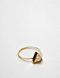 Grace Lee triangle pearl ring at Bird
