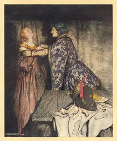 How Tristram and Isoud Drank the Love Drink  Arthur Rackham  1917